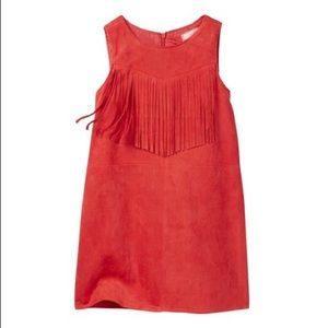 Soprano faux vegan suede fringe tank shift dress
